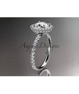 Platinum diamond unique engagement ring Moissanite center stone ADER106 - $2,650.00