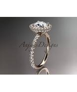 14kt rose gold diamond unique engagement ring Moissanite center stone AD... - $2,150.00