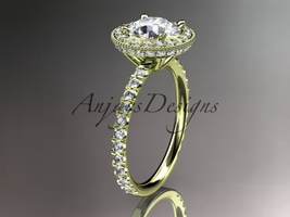 14kt yellow gold diamond unique engagement ring Moissanite center stone ADER106 - $2,150.00