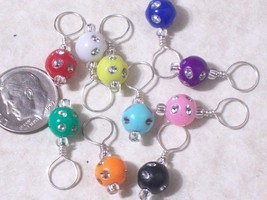 knitting stitch markers, rainbow resin bead, set of 10, no snag - $8.99