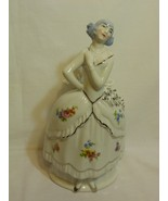 "Fine Porcelain Lady With Blue Hair & Silver Shoes 9"" Figurine Spill Vase... - $109.98"