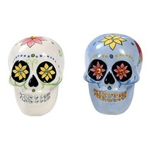 Day of Dead Sugar White & Blue Skulls Salt & Pepper Shakers Set Rhinesto... - $13.85