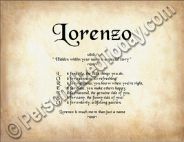 Lorenzo Hidden Within Your Name Is A Special Story Letter Poem  8.5 x 11... - $8.95