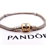 AUTHENTIC PANDORA Sterling Silver & Gold Clasp Bracelet 18cm 7in, 590702HG - $260.00