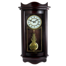 Bedford Clock Collection 25 Inch Chiming Pendulum Wall Clock in Weathered Chocol - $130.66