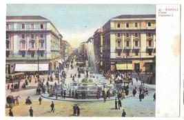 Italy Napoli Corso Umberto I Fountain Vintage Campania Postcard Naples S... - $6.69