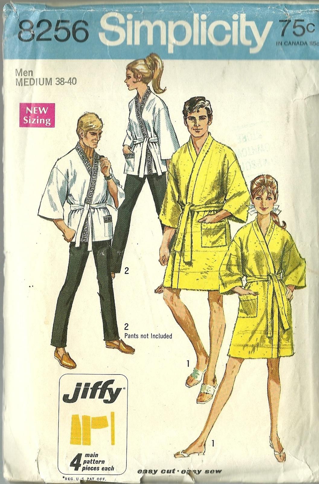 Simplicity Sewing Pattern 8256 Unisex Mens Misses Housecoat Kimono Robe Sz  38 40 -  12.98 0a40e820c
