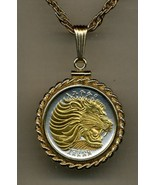 "Ethiopia 25 cent ""Lion"" Gold on silver coin pendant necklace - $122.00"