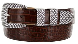 Java Italian Calfskin Leather Designer Dress Golf Belt for Men (34, Alligator... - $29.20