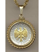 "German 1 mark ""Eagle"" (quarter size) Gold on Silver Coin Pendant Necklace - $132.00"