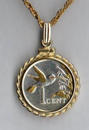 Trinidad & Tobago 1 cent Gold on silver coin pendant & 14k neckla