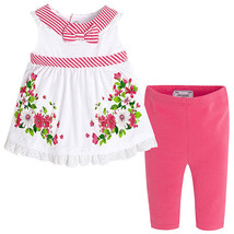 Mayoral Baby Girl 3M-24M RedWhite/Green Stripes-n-Floral Top/Legging Set