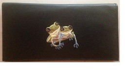 Tree Frog Black Leather Checkbook Cover - $20.00