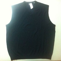BRAND NEW JOS A BANK Sweater Vest Size Large Solid Black Merino Wool V-n... - $53.00