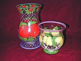 Hand Painted Fruit Pattern Hurricane Candleholders - $14.95