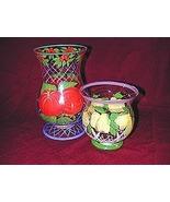 Hand Painted Fruit Pattern Hurricane Candleholders - $14.95