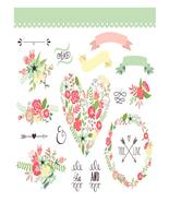 Wedding Floral Flower1-Digital-ClipArt-Art Clip-Digital Wreath-Shabby Chic - $4.00