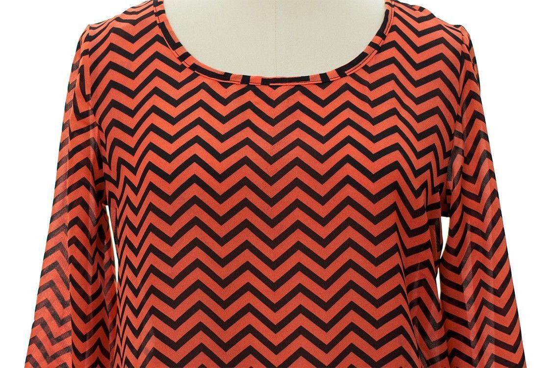 Wonderful 2LUV Chevron Print Button Down Blouse For Women | Aanewtops
