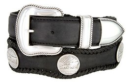Oregon Trail Coin Conchos Western Leather Scalloped Belt Black 32 - $43.50