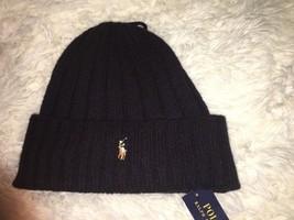 Polo Ralph Lauren Men's Black Beanie Skull Hat Wool Blend Pony 001