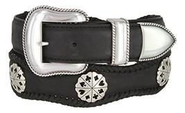 Poker Hand Card Suit Conchos Western Leather Scalloped Belt Black 54 - $45.48