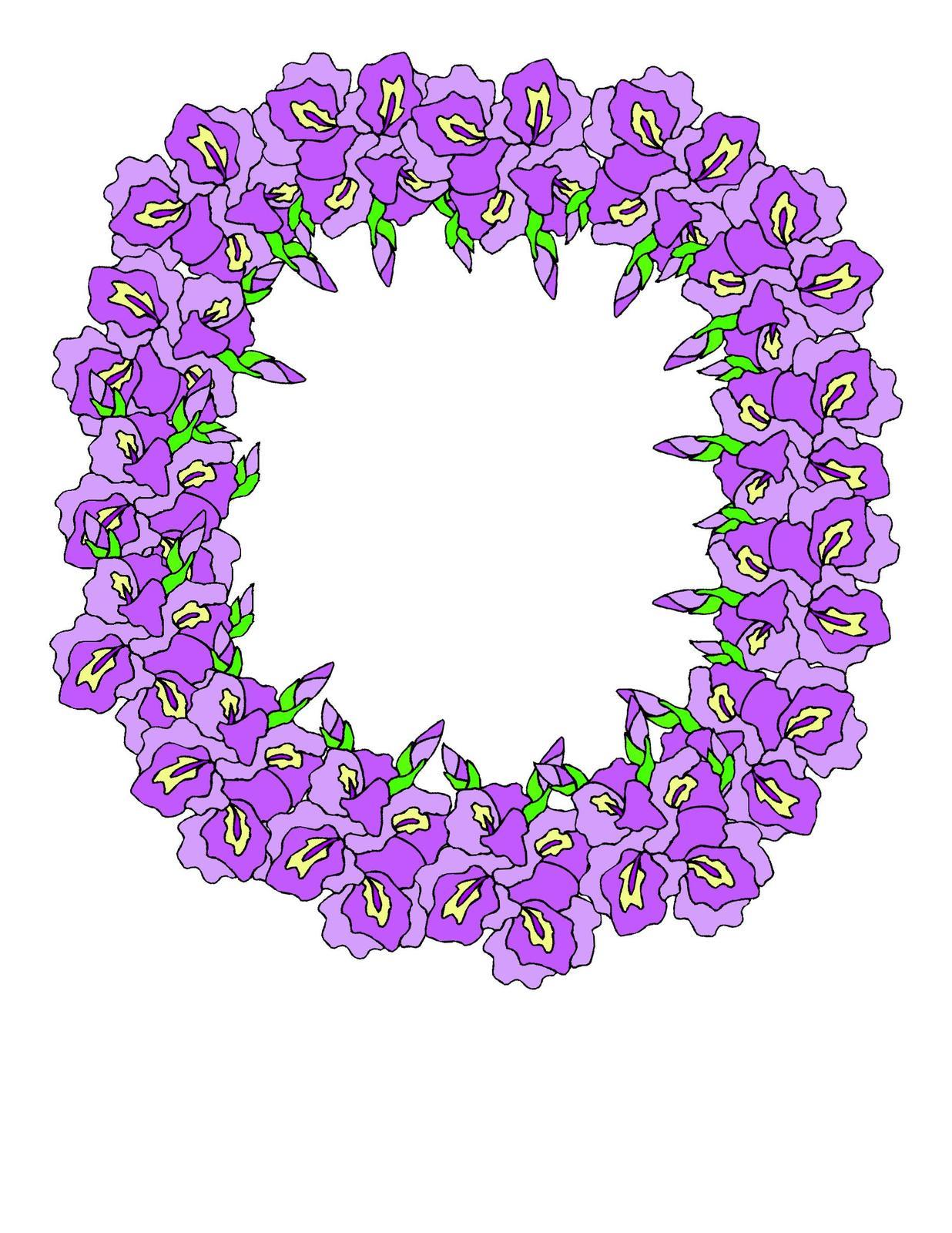 Purple floral flower wreath
