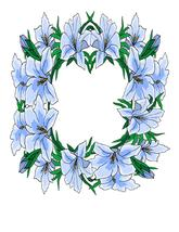 Blue Floral Flower Wreath-Digital-ClipArt-Art Clip - $2.00