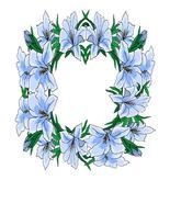 Blue Floral Flower Wreath-Digital-ClipArt-Art Clip - $4.00