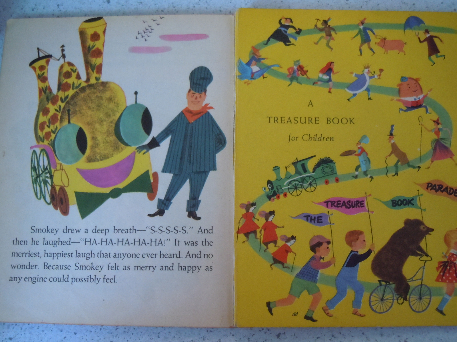 Vintage The Little Engine That Laughed by Alf Evers Treasure Book 1950 Hardcover