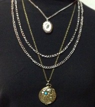 "Womens Chain Necklace Flower Green Rhinestone Locket Copper NEW 28"" - $11.99"