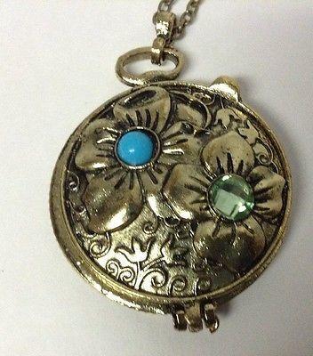 "Womens Chain Necklace Flower Green Rhinestone Locket Copper NEW 28"""