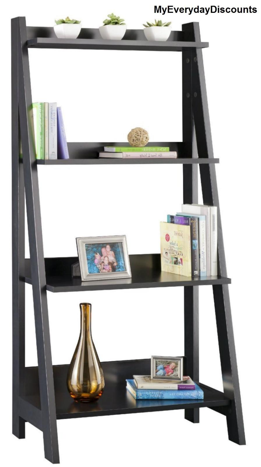 Ladder Bookcase Wood Furniture Shelf Shelves Wall Home Wall Shelves