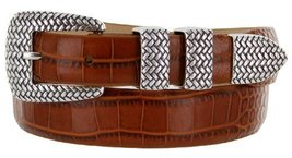 Java Italian Calfskin Leather Designer Dress Golf Belt for Men (48, Alligator... - $29.20