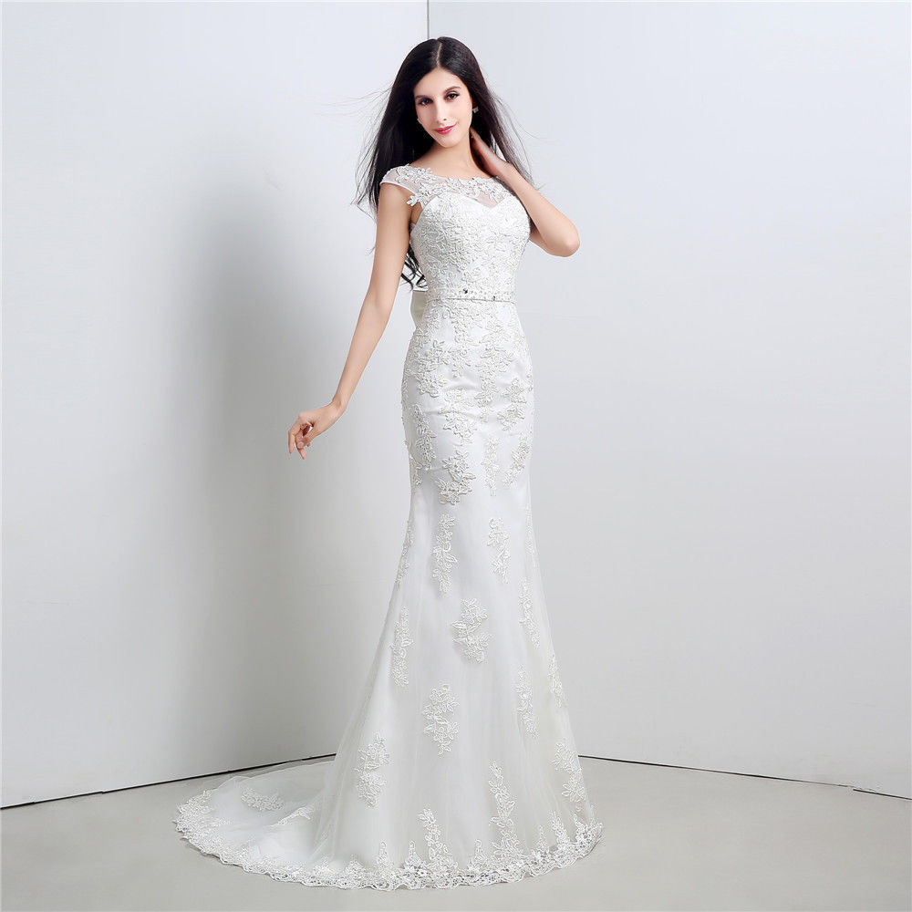 White ivory lace mermaid long bridal ball gown wedding for White or ivory wedding dress