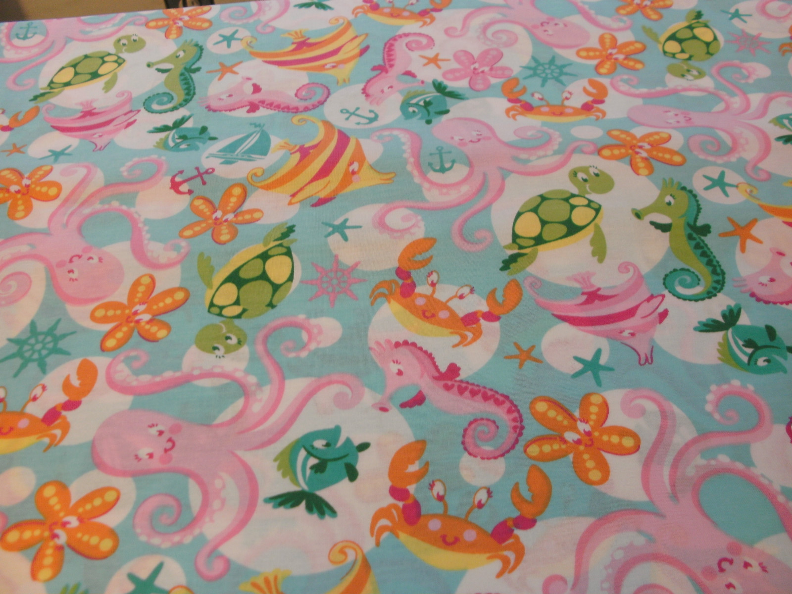 1 yd children 39 s quilt fabric swim party sea horse fish for Children of the sea fabric