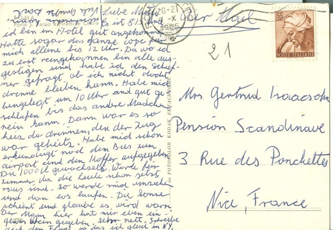 Italy Rome, Poarta S. Paolo e Piramide Cestia, with Fiat 600, 1965 used Postcard