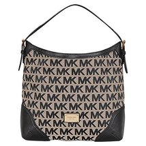 MICHAEL Michael Kors Large Millbrook Shoulder Bag in Beige/Black/Black - $283.00