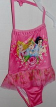 Disney Princess Pink Swimsuit Cinderella Snow White Aurora SZ 3T Halter NEW - $10.00