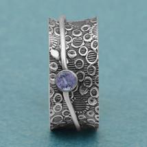 Celtic Knot 925 Silver Blue Zircon Spinner Meditation Fidget Ring Size US-5 - $16.09