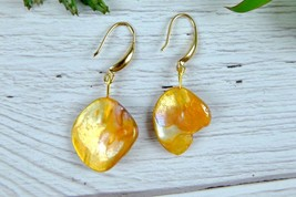 Golden Brown Abalone Shell Drop Earrings,  Modern Natural Sea shell Jewelry - $7.59