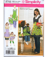 "Simplicity 3746 Mother & Child's Aprons Matching 18"" Doll Aprons Sewing Pattern - $9.95"