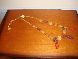 Liz Claiborne Goldtone With Colored Cut Dangling Beads Necklace - $16.99
