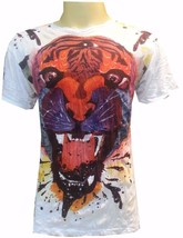 Men Shirt short sleeve cotton Tiger Animal Jungle King India Thailand Om M Sure - $12.86