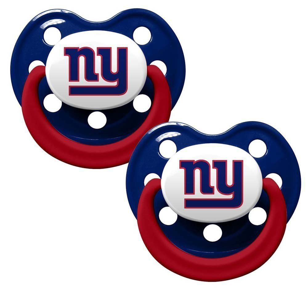 NEW YORK GIANTS 2-PACK BABY INFANT ORTHODONTIC PACIFIER SET NFL FOOTBALL