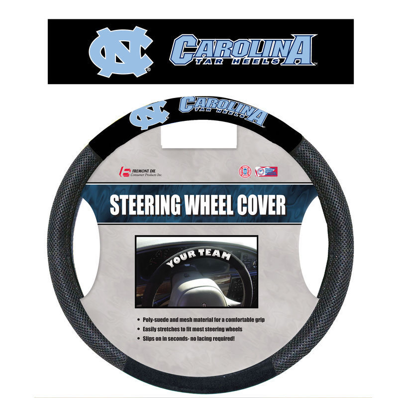 NORTH CAROLINA TAR HEELS MESH POLY SUEDE CAR AUTO STEERING WHEEL COVER NCAA #1