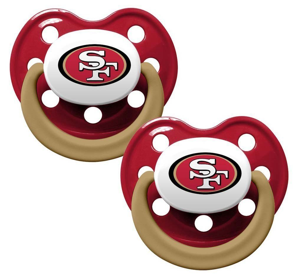 SAN FRANCISCO 49ERS 2-PACK BABY INFANT ORTHODONTIC PACIFIER SET NFL FOOTBALL