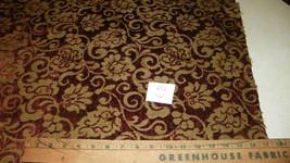 Burgundy Gree;n Print Chenille Upholstery Fabric 1 Yard  R26 - $49.95