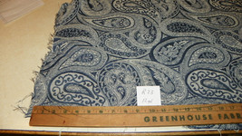 Blue Off White Paisley Print Damask Fabric / Upholstery Fabric  1 Yard  R33 - $29.95