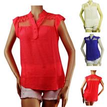 Sheer Lace Collar Short Sleeve WOVEN BLOUSE Summer Casual Shirts Cool Fa... - $19.99