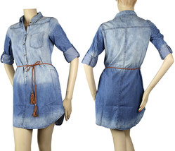 Washed Jean Long Slv Button Collar Sexy Dress w/Belt Casual Denim Mini S... - $26.99